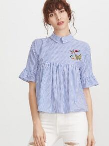 Blue Striped Pointed Collar Ruffle Sleeve Embroidered Babydoll Top