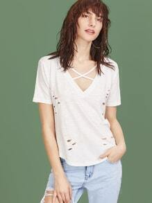 White Crisscross V Neck Distressed Slub T-shirt