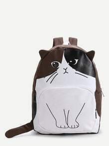 Brown Cat Pattern Cute Backpack