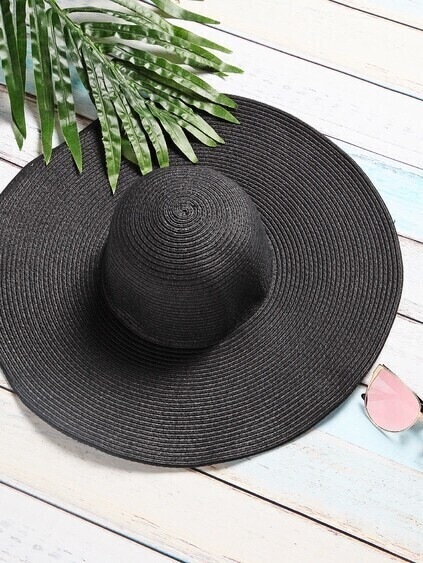 Black Vacation Wide Brim Strohhut