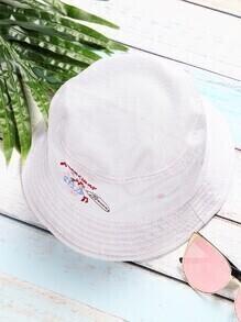 White Embroidery Design Wide Brim Hat