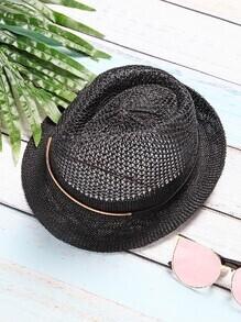 Sombrero con ala ancha de malla vintage - negro