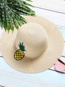 Sombrero de paja con bordado de piña - beige