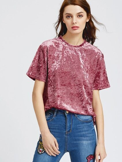 Pink Drop Shoulder Short Sleeve Velvet Top