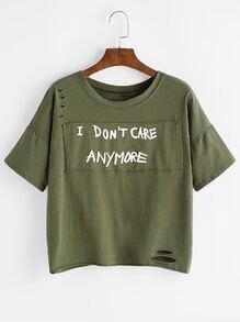 Camiseta rota con parche de hombros caídos - verde militar