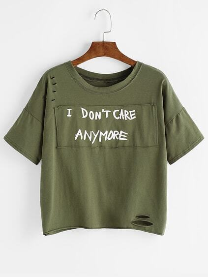 Army Green Ripped Patch Drop Shoulder T-shirt