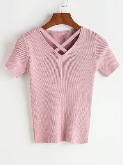 Criss Cross Front V Neck Ribbed Knitted T-shirt