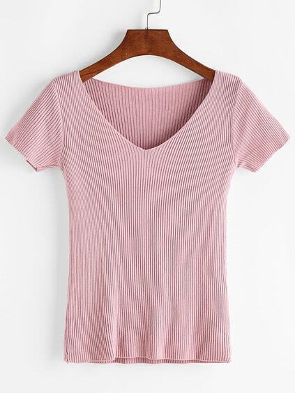 Pink V Neck Ribbed Knitted T-shirt