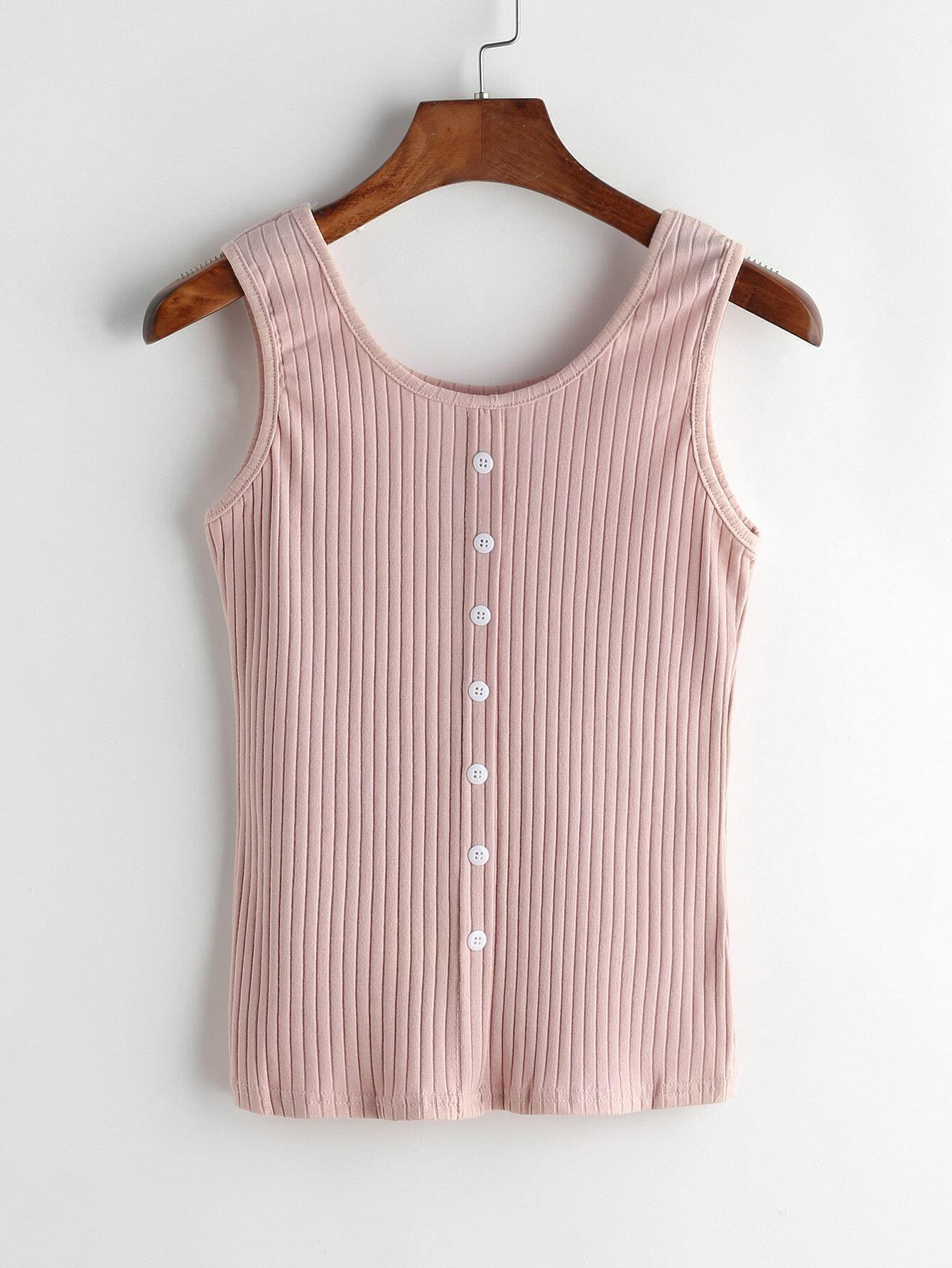 Pink Ribbed Button Front Tank Top