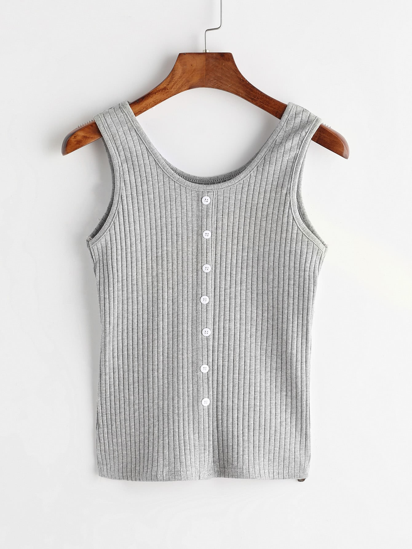 Grey Ribbed Button Front Tank Top