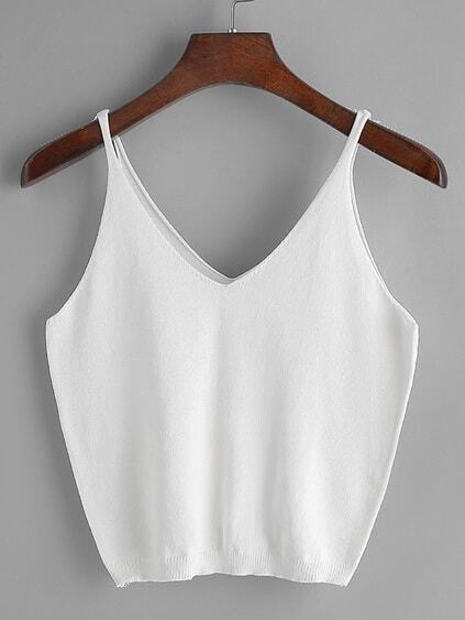 White V Neck Knitted Cami Top