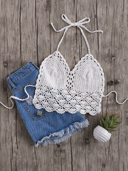 White Hollow Out Crochet Halter Neck Top