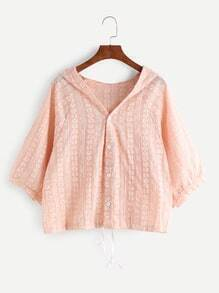 Pink Printed Drawstring Hooded Blouse