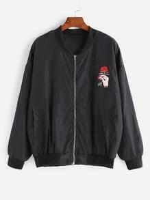 Jacke mit gestickten rosa und Reißverschluss - schwarz