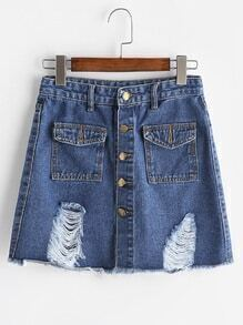 Blue Ripped Single Breasted Two Pockets Denim Skirt