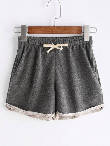 Grey Rolled Drawstring Waist Shorts