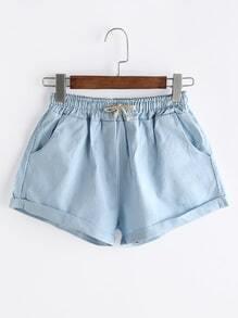 Shorts con cordón con vuelta - azul