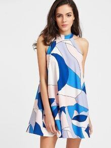 Patchwork Keyhole Back Dress