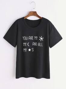 T-shirt noir d'impression de slogan