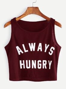 Burgundy Letter Print Crop Tank Top