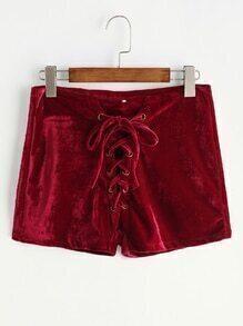 Shorts de terciopelo con cordones en la parte delantera - borgoña