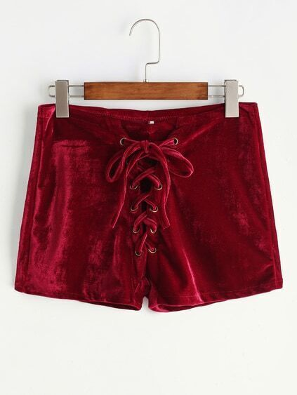 Burgundy Velvet Lace Up Front Shorts