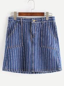 Falda en denim de rayas con bolsillos línea A - azul oscuro