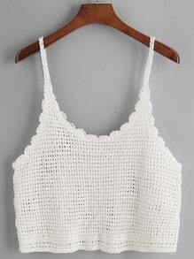 White Scalloped Hem Knitted Cami Top