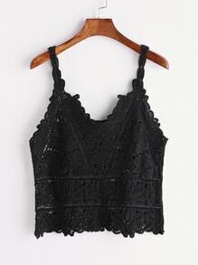 T-shirt manches longues crochet noir