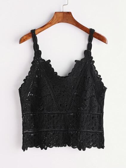 Black Crochet Hollow Out Cami Top
