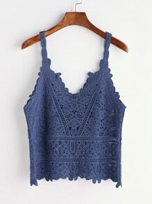Blue Crochet Hollow Out Cami Top