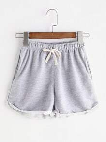 Graue Tunnelzug Taille Cuffed Shorts