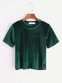 Green Split Back Velvet T-shirt