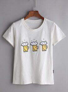 Camiseta con bordado de jarra de cerveza - blanco