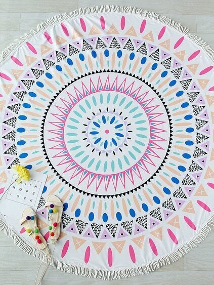 Multicolor Printed Fringe Trim Round Beach Blanket