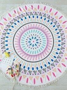Multicolor Printed Fringe Trim Round Beach Blanket