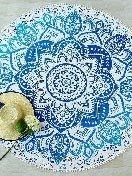Blue Lotus Print Pom Pom Trim Round Beach Blanket