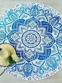Blue Lotus Print Pom Pom Trim Round Beach Blanket