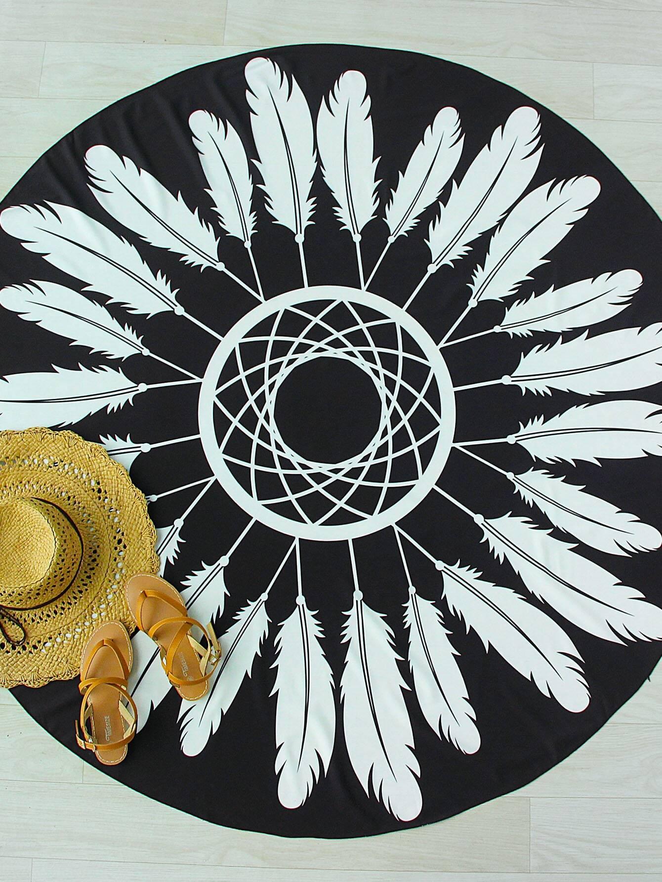 Black And White Feather Print Round Beach Blanket