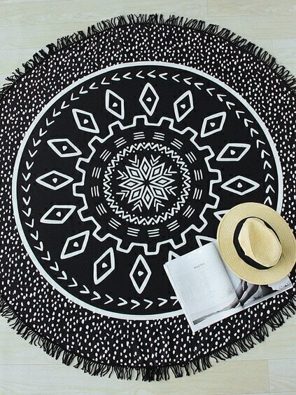 Black Dot Print Fringe Detail Round Beach Blanket