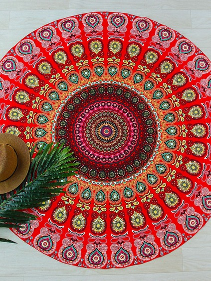 Red Tribal Print Runde Stranddecke