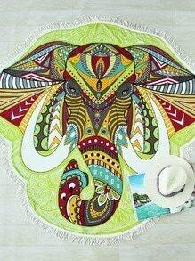 Manta para la playa asimétrica con estampado de elefante y diseño de flecos - multicolor