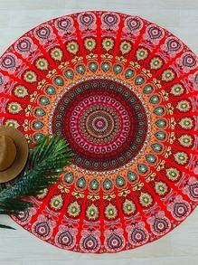 Red Tribal Print Round Beach Blanket