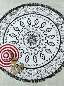 Manta para la playa redonda de lunares con detalle de flecos - blanco