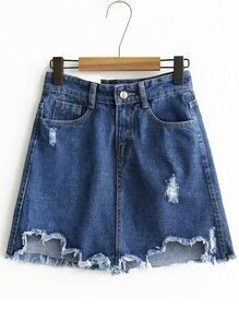 Blue Raw Hem A Line Denim Skirt