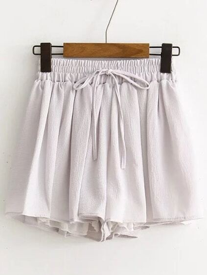 Grey Drawstring Chiffon Shorts