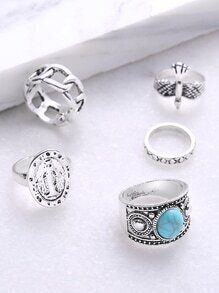 Turquoise Gemstone Détail Hollow Out Ring Set