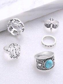 Set anillo hueco con detalle de piedra preciosa