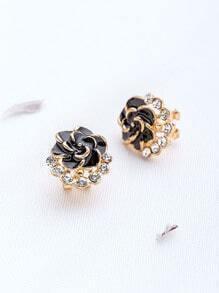 Pendientes en forma de flor con tachuelas - negro
