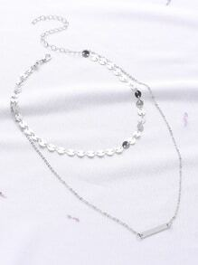 Silver Double Layered Bar Pendant Necklace